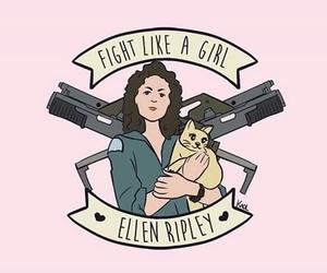 alien, fight like a girl, and ellen ripley image