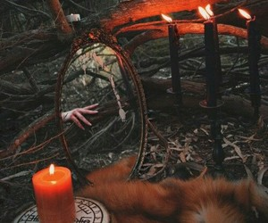 witch, candle, and forest image