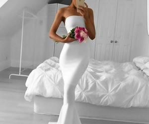 white, dress, and flowers image