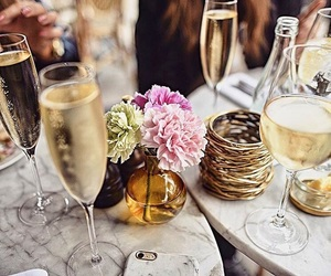 champagne, drinks, and flower image