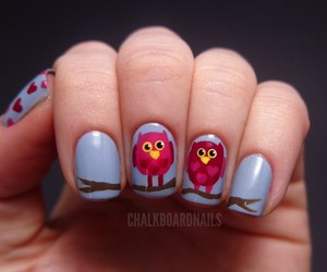 nails, owl, and nail art image