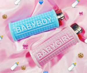 baby boy, pink, and baby girl image