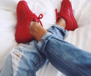 indie, jeans, and red image