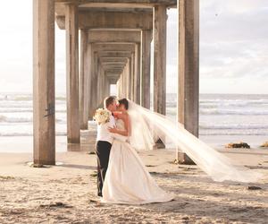 beach, beautiful, and bridge image