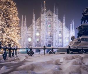 snow, milan, and christmas image