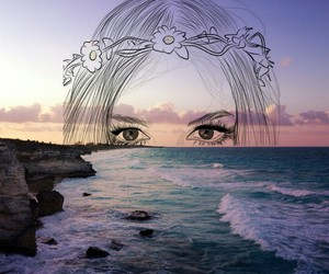 eyes, art, and sea image
