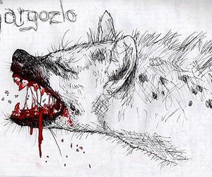 blood, drawing, and hyena image
