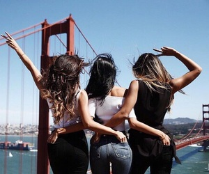 friends, hair, and travel image