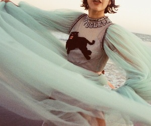 blue, dress, and blowing in the wind image