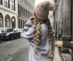 hair, winter, and braid image