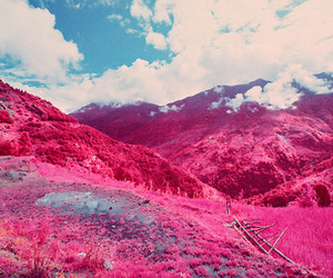 pink, clouds, and mountains image