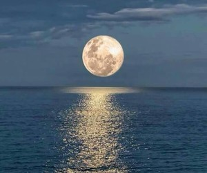 moon, ocean, and sea image