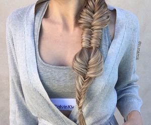 braid, hair style, and bralette image