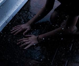 rain, grunge, and hands image