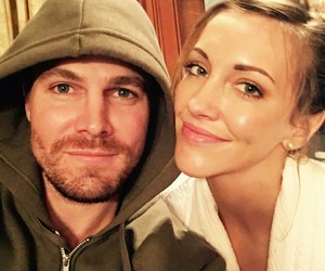 arrow, stephen amell, and katie cassid image