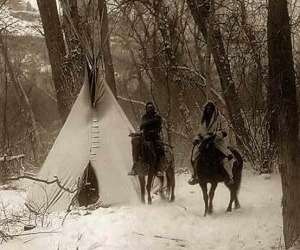 tipi and indians on horses image