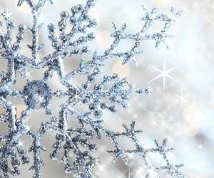 blue, christmas, and snowflakes image
