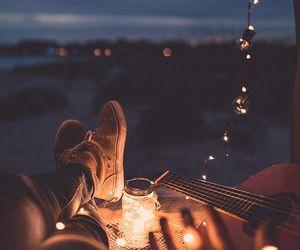 light, night, and guitar image