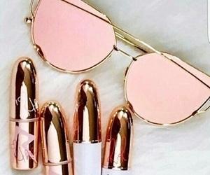 pink, lipstick, and sunglasses image
