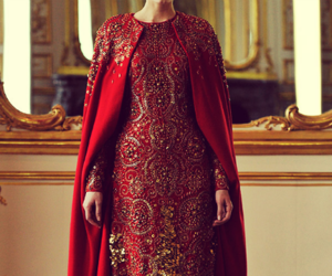 gold, red, and dress image