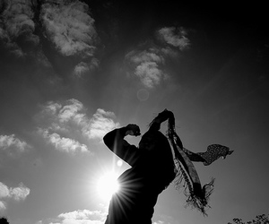 black and white, sun, and silhouette image