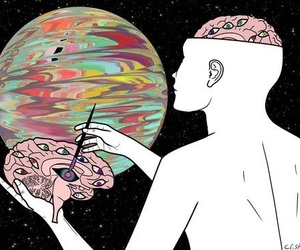 art, drawing, and brain image