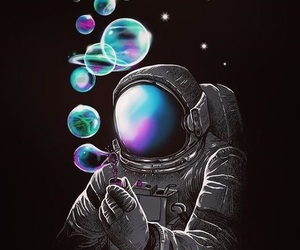 space, astronaut, and bubbles image