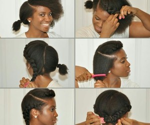 black hair, natural hair, and technique image