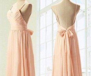 pink bridesmaid dress, chiffon dresses, and bridesmaid dress image