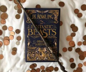 book, coins, and hogwarts image