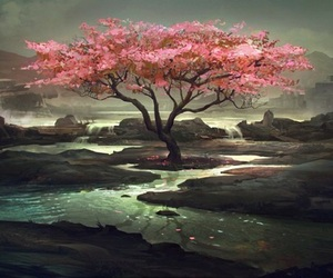 tree, pink, and water image