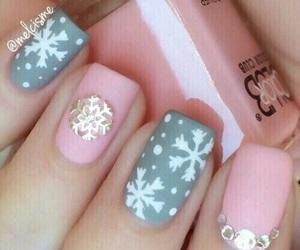 nails, pink, and christmas image