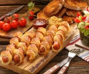 food, salad, and sausage image