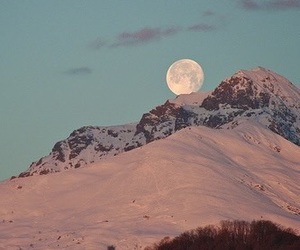 mountain, snow, and pink moon image