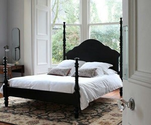 bedroom, wood floors, and home decor image