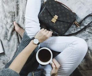 bag, LV, and sweater image