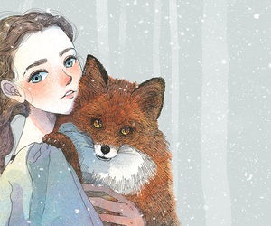 fox, girl, and cute image