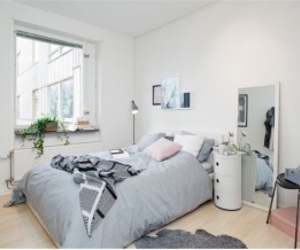 bedroom, room, and grey image