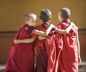 bhutan, paro, and buddhist monks image