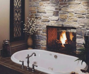 bathroom, fireplace, and home image