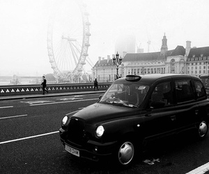 black and white, london, and london eye image