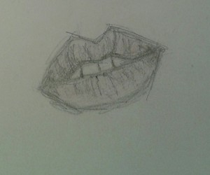 b&w, lips, and drawing image