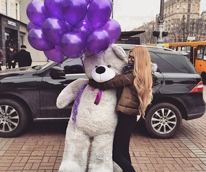 girl, bear, and balloons image