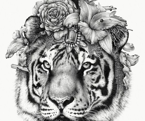 tiger, drawing, and flowers image