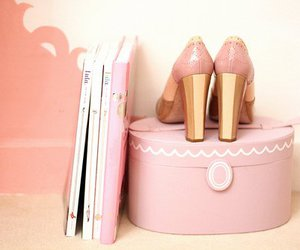 pink, shoes, and book image