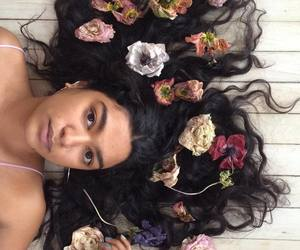 flowers, girl, and beauty image