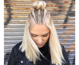 hair, blonde, and braids image
