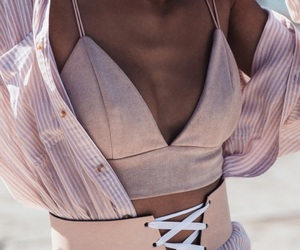 bralette, button up, and fashion image