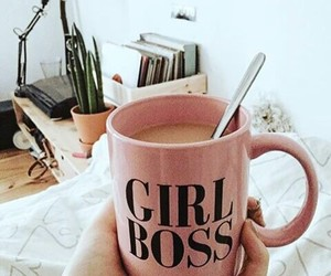 girl, coffee, and pink image
