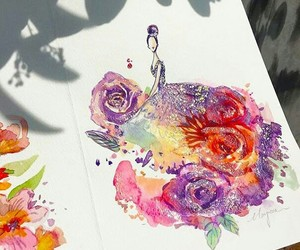 art, dress, and flowers image
